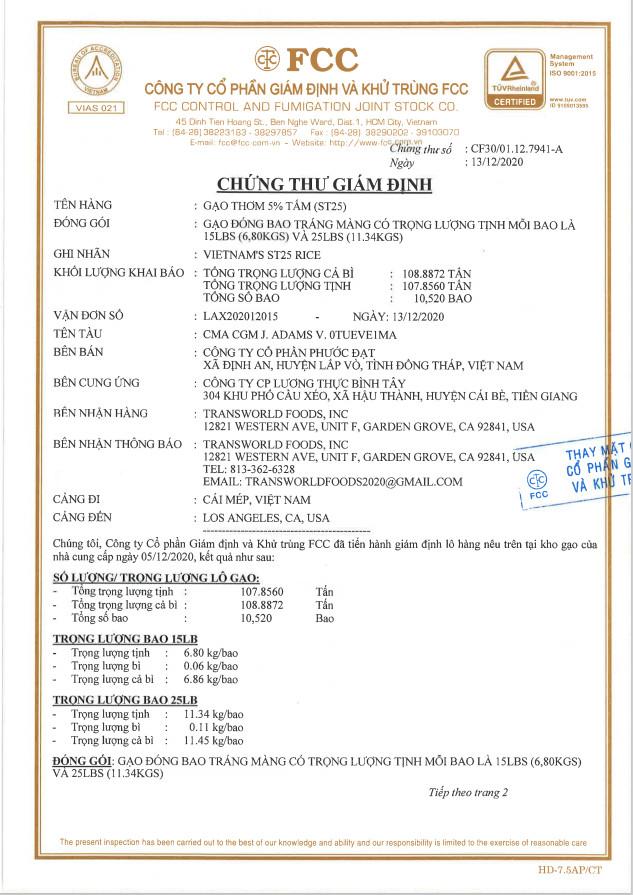 Giấy chứng nhận gạo ST25 đủ tiêu chuẩn xuất khẩu