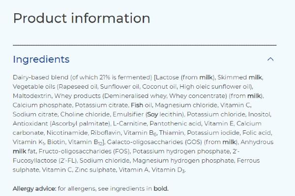 Thành phần dinh dưỡng sữa Aptamil Anh số 3